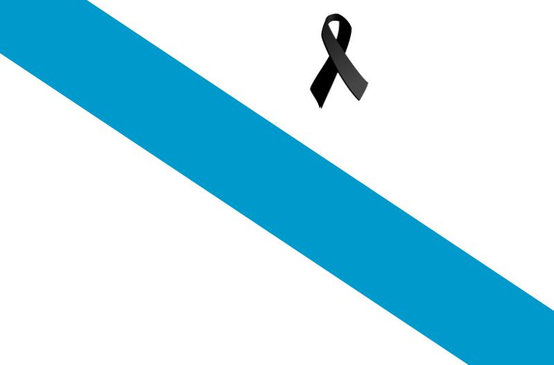 Bandera de Galicia con crespón negro.