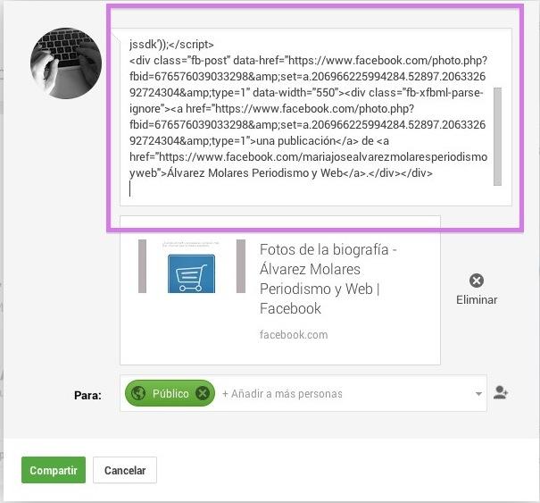 Código de Facebook en Google+.