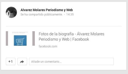 Publicación en Google+ que lleva a la publicación de Facebook.