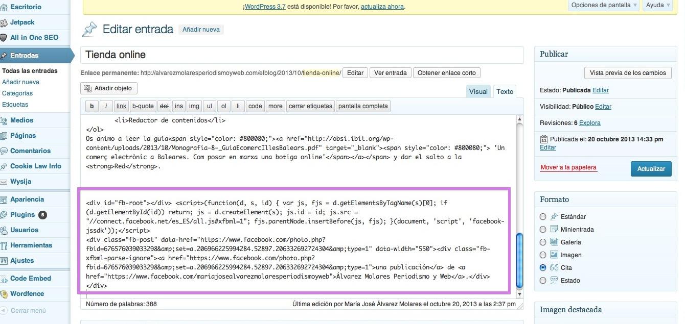 """Código de """"Insertar publicación"""" en la web."""
