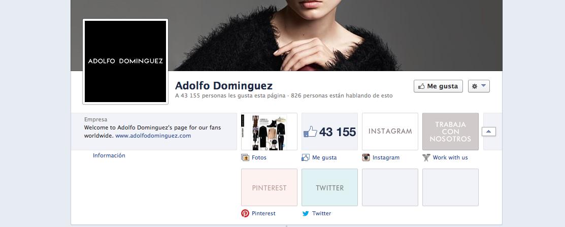 C mo enriquecer la fanpage de una pyme en facebook for Adolfo dominguez web corporativa