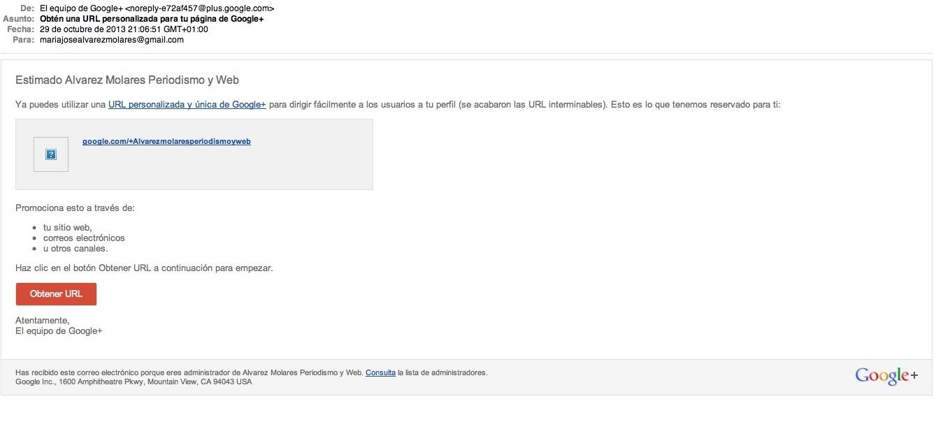 Mail para la url personalizada de Google+
