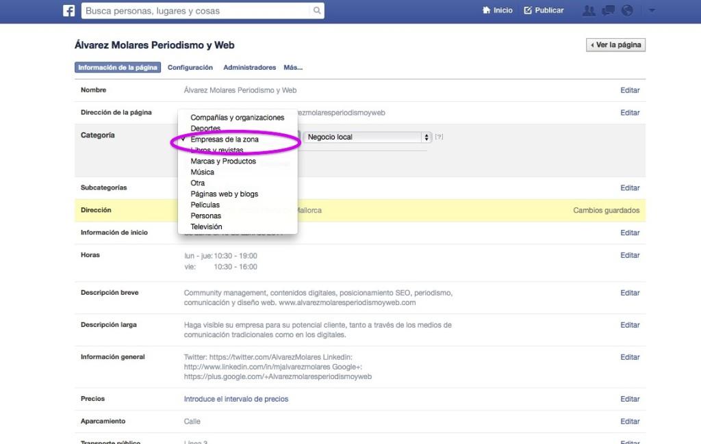 Elige una categoría que implique un lugar físico para activar las 5 estrellas de Facebook