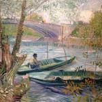 Vincent Van Gogh - Pescador y barcas junto al puente Clichy