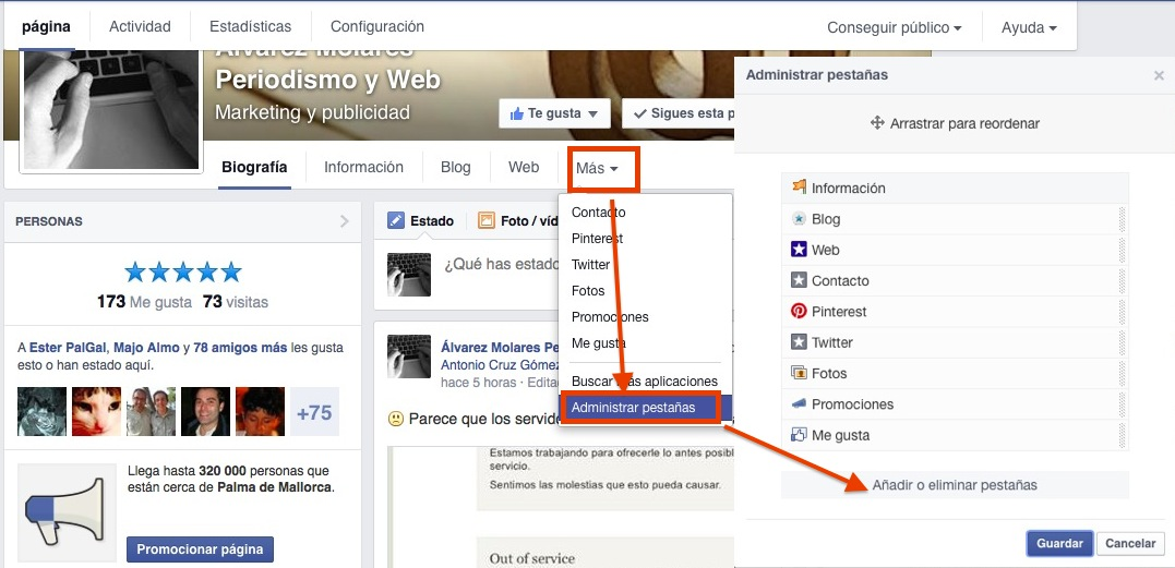 Cambiar la imagen de la pestaña en Facebook.