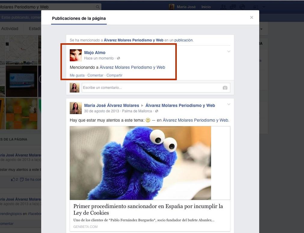 Cómo saber cuándo mencionan tu fanpage en Facebook.
