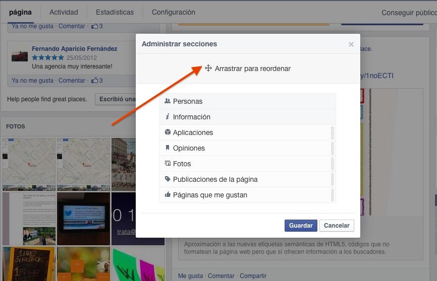 Reordenar secciones en Facebook.