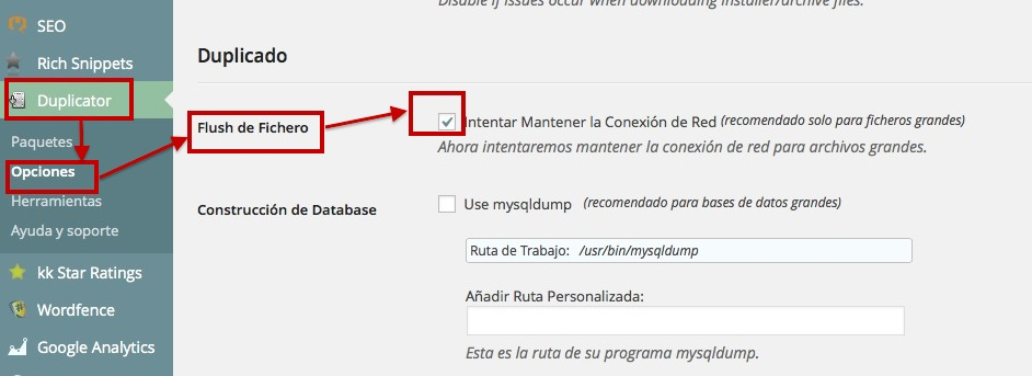 Copia de seguridad con Duplicator en WordPress