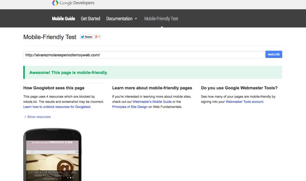 Test de mobile friendly de Google