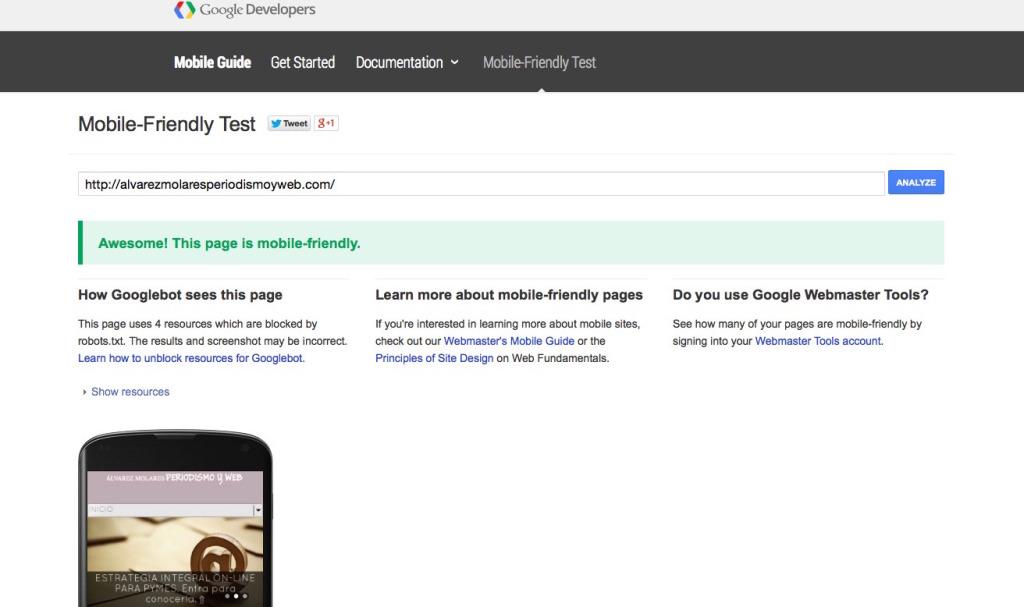 Test de mobile friendly de Google